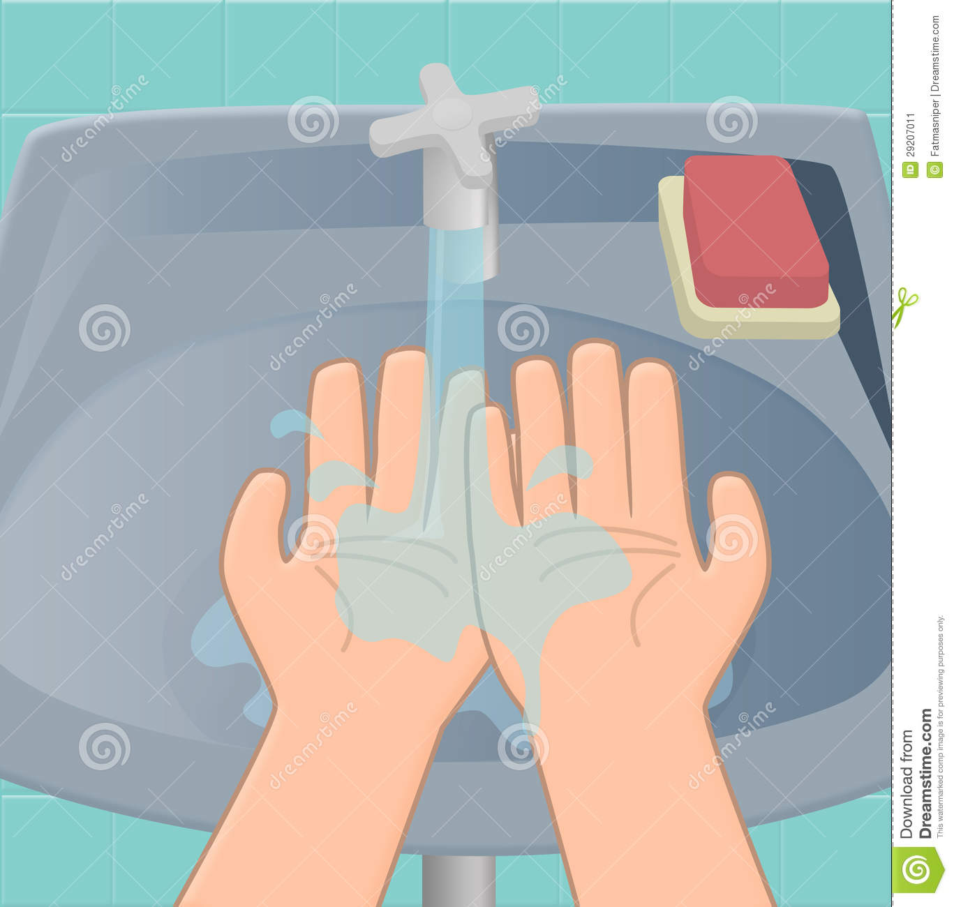 The first stage of washing hands