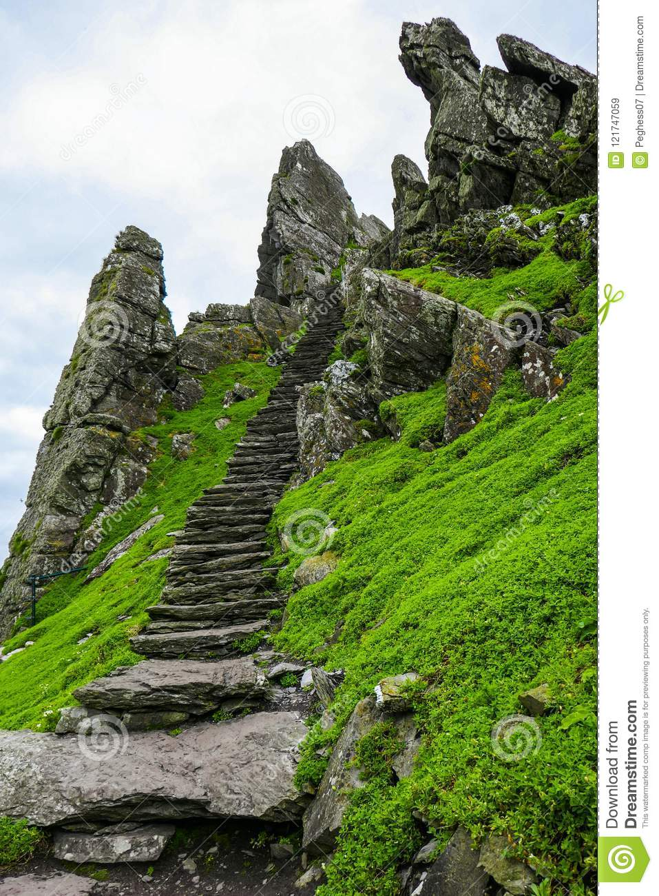 First of 600 steps ascending to Skellig Michael, well-preserved ancient Irish Christian monastery.