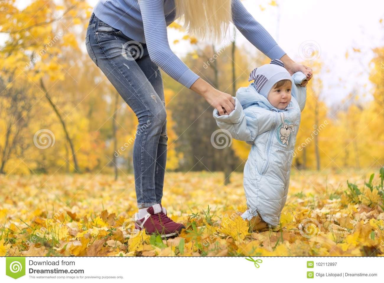First steps of little kid in autumn park. Mother teaching her cute little son to walk.