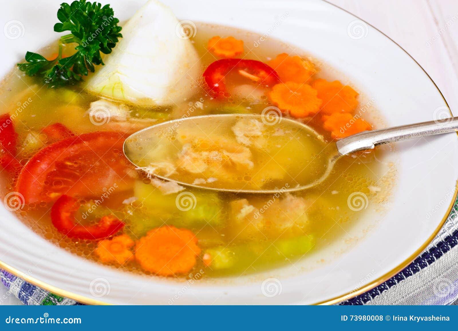 fisch suppe mit forelle und gem se stockfoto bild von brokkoli abendessen 73980008. Black Bedroom Furniture Sets. Home Design Ideas
