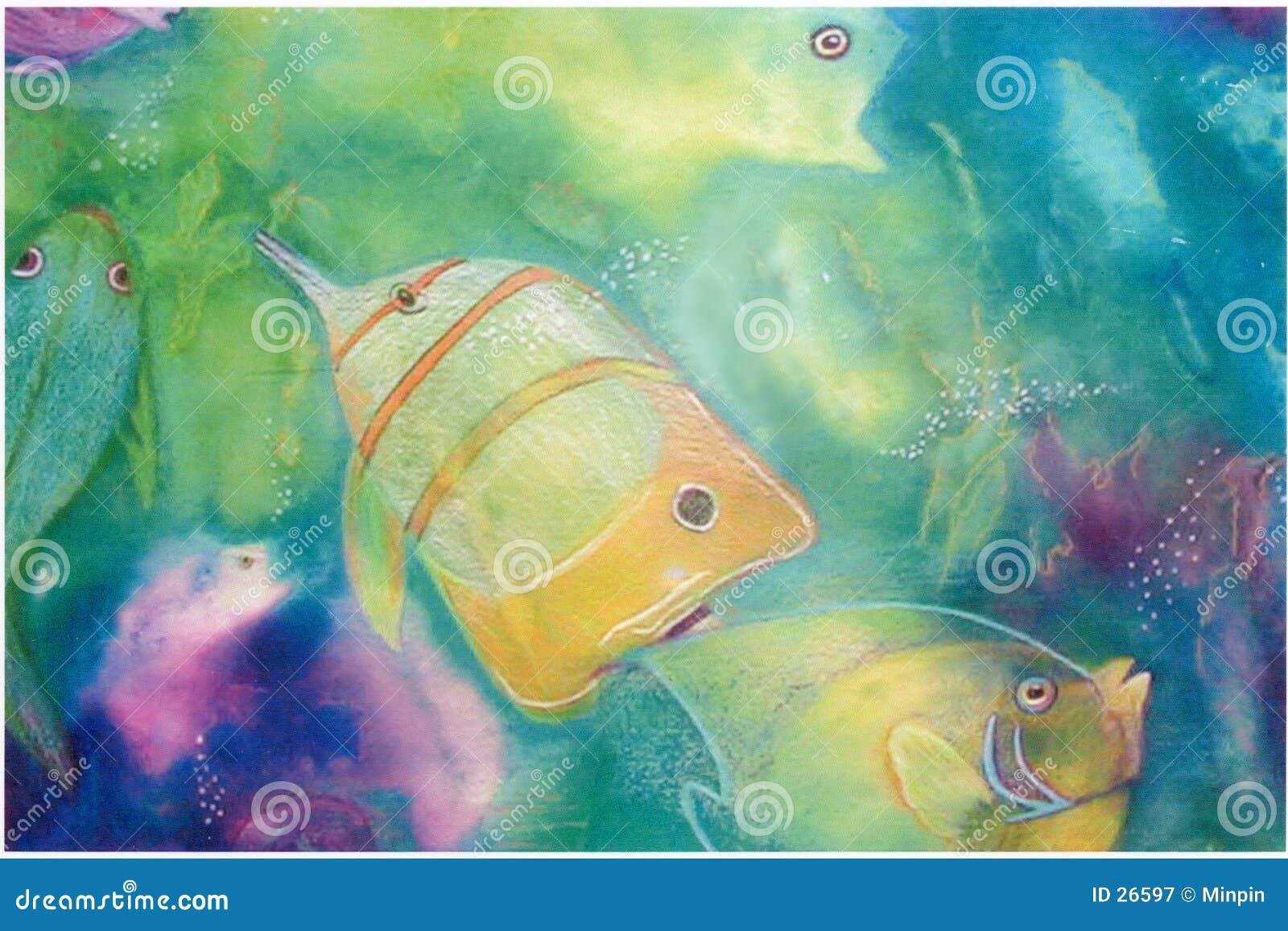 Fische, die in Mischmedia spielen