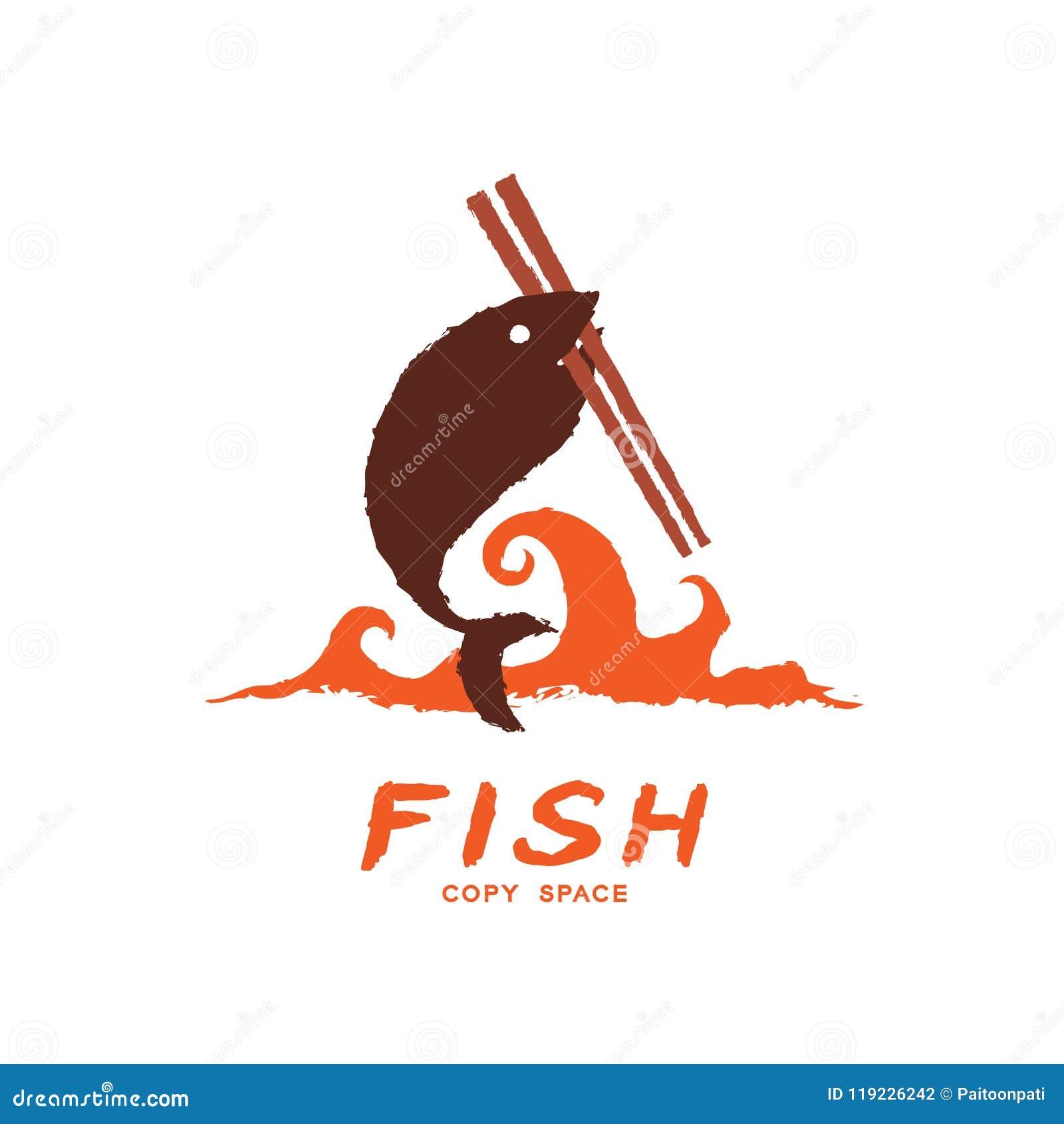 Fische tragen Essstäbchen auf Welle, Bürstendesignbraun-Farbillustration der Logoikone gesetzte