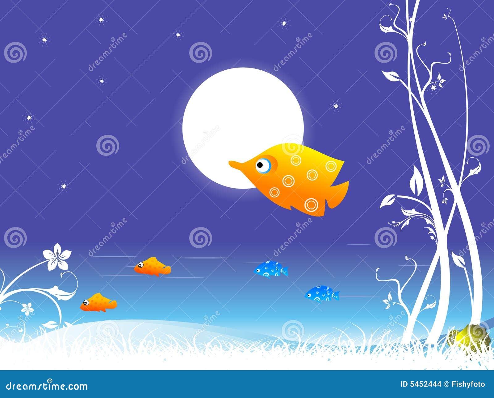 Fische und Mond