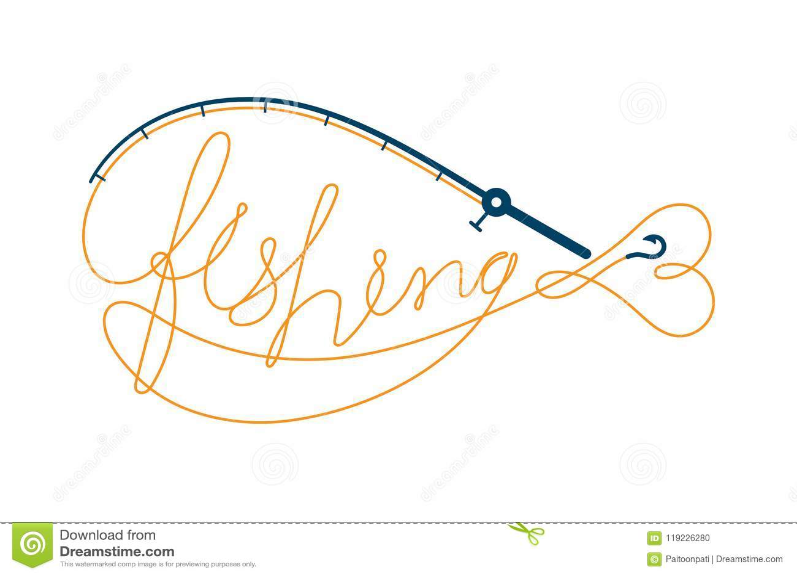 Fischen Sie den Text, der von Angelrute gemacht wird, Fischform, orange und dunkelblaue Farbillustration des Logoikonenbühnenbild