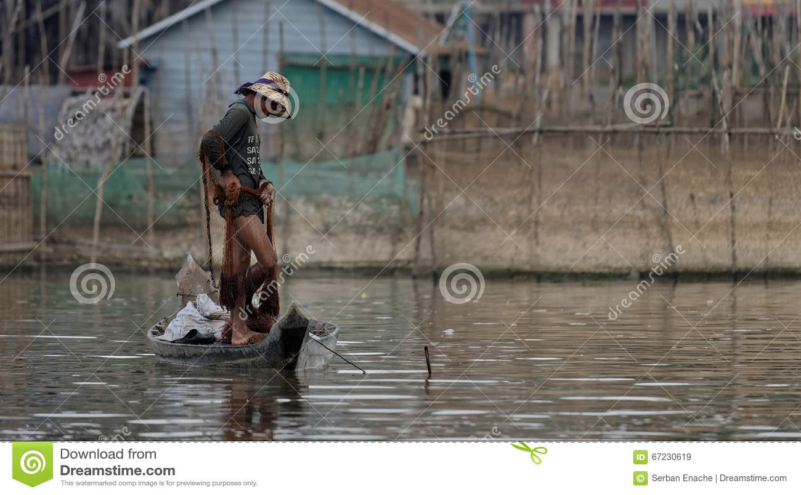 Fischer im Boot, Tonle-Saft, Kambodscha