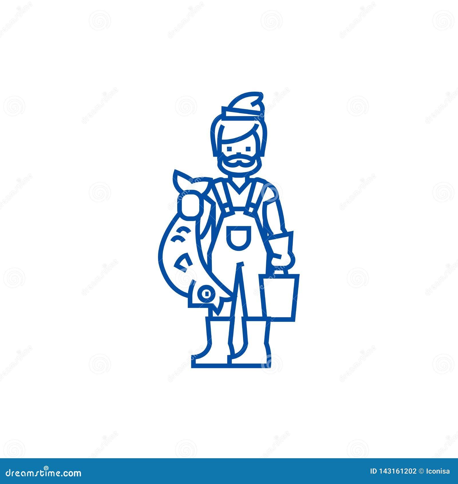 Fischer mit Sehneikonenkonzept Fischer mit flachem Vektorsymbol der Fische, Zeichen, Entwurfsillustration