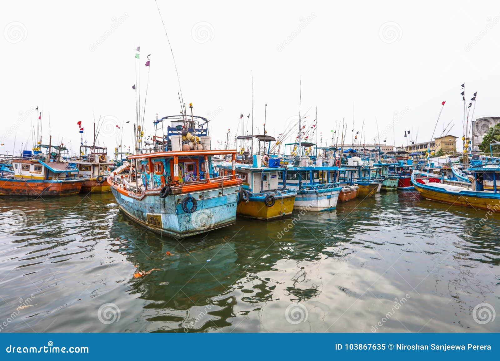 Fischerboote Stehen In Galle Hafen Sri Lanka Redaktionelles Bild