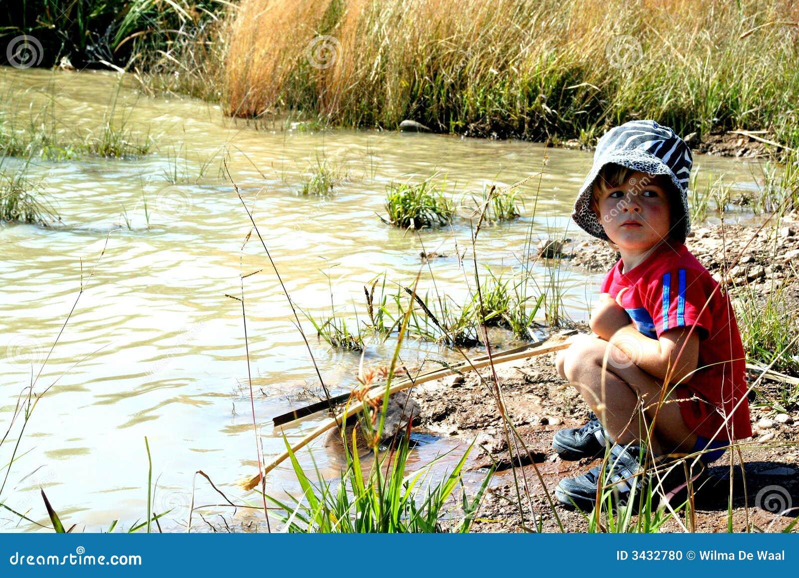 Fischerei in einem Teich