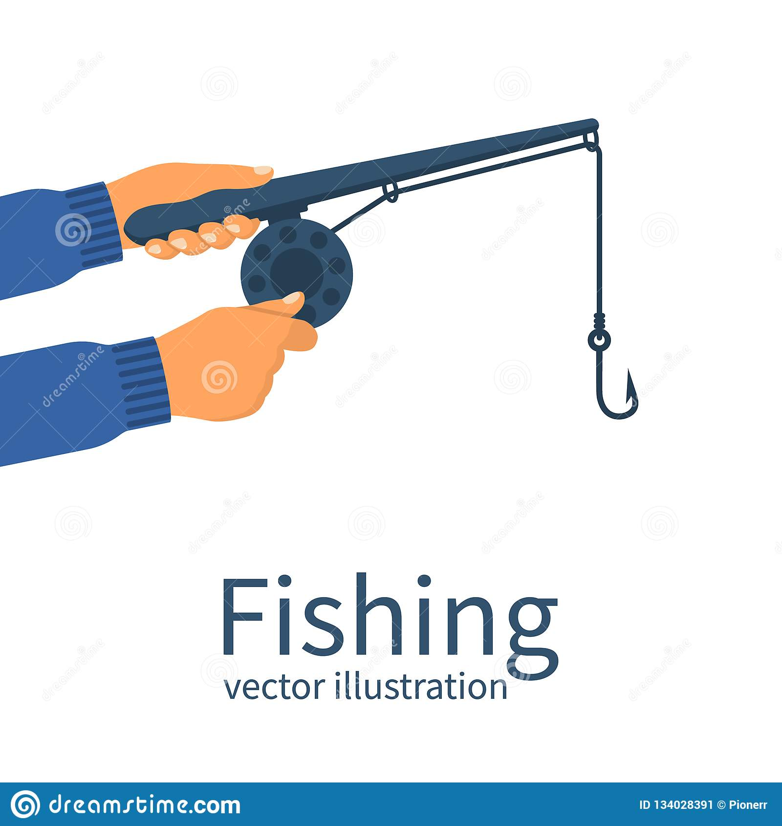 Fischerholding in der Handklassischen Angelrute