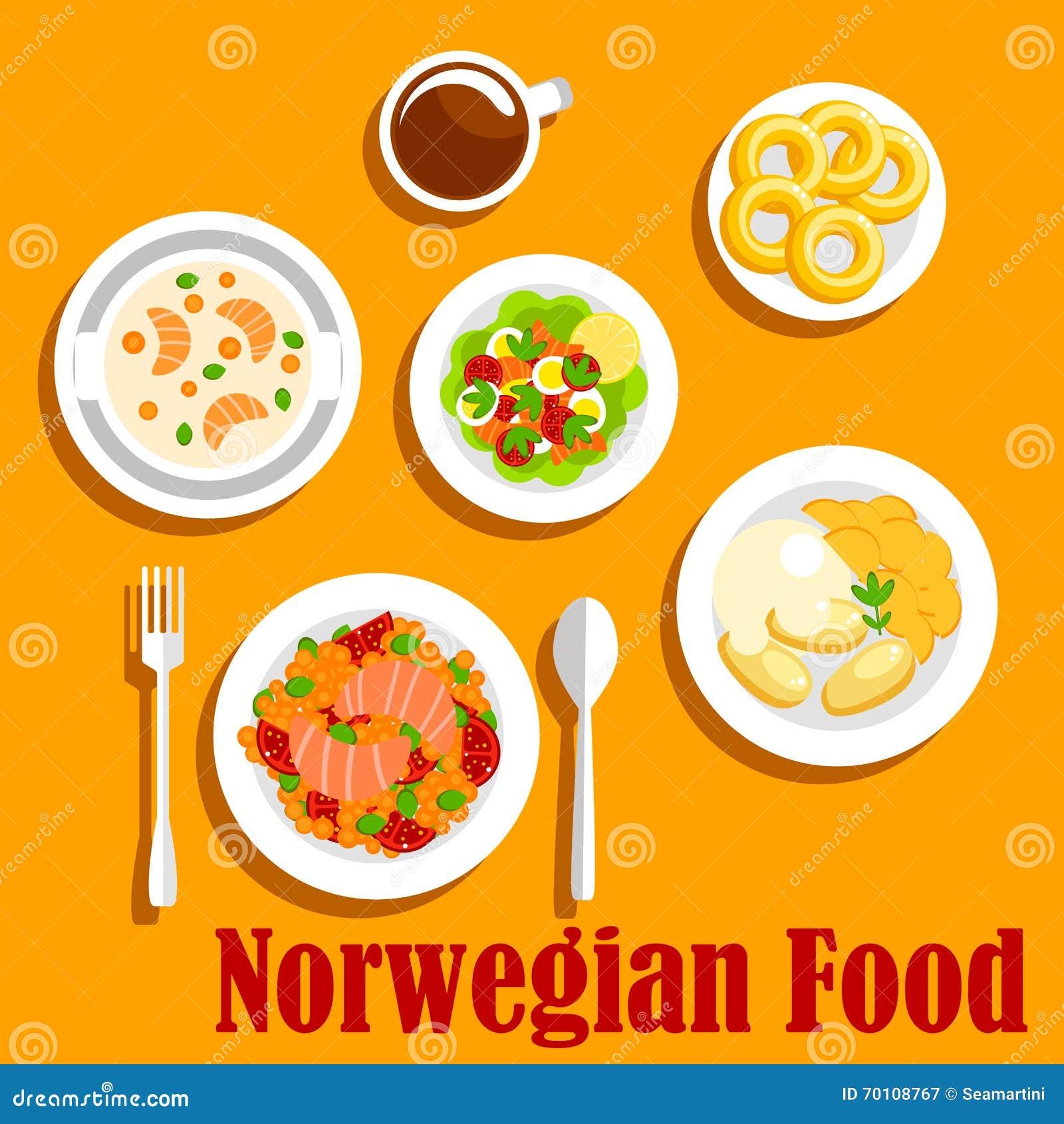 fischgerichte der flachen ikone der norwegischen küche vektor