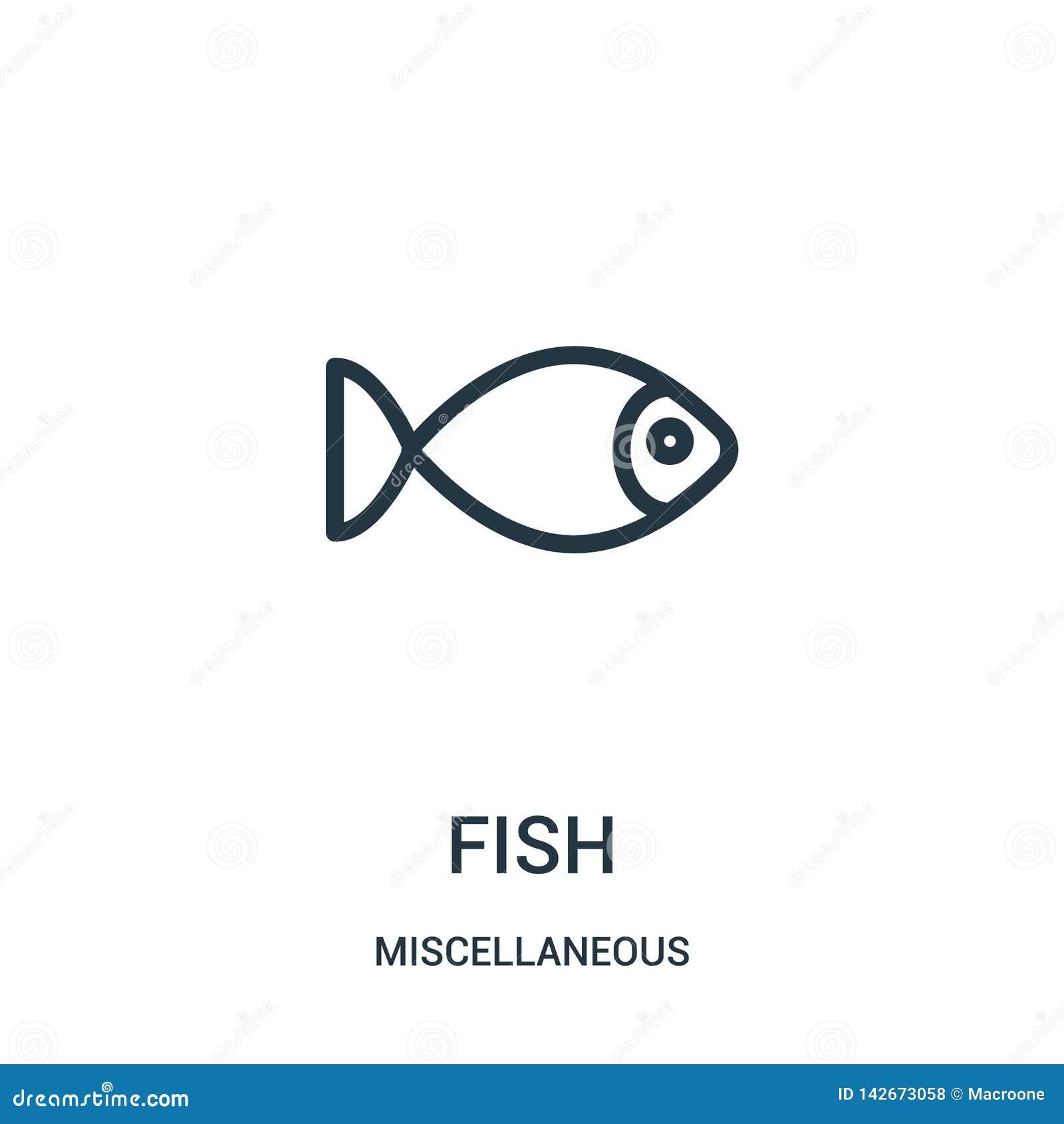 Fischikonenvektor von der verschiedenen Sammlung Dünne Linie Fischentwurfsikonen-Vektorillustration Lineares Symbol für Gebrauch