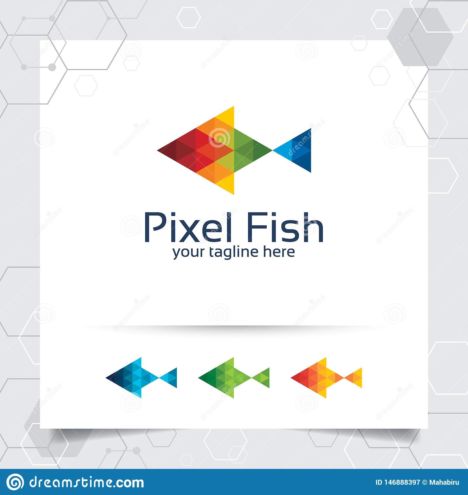 Fischmaskottchenlogovektor-Entwurfsillustration mit buntem Dreieck und Pixelkonzept Fischlogovektor für App und Studio