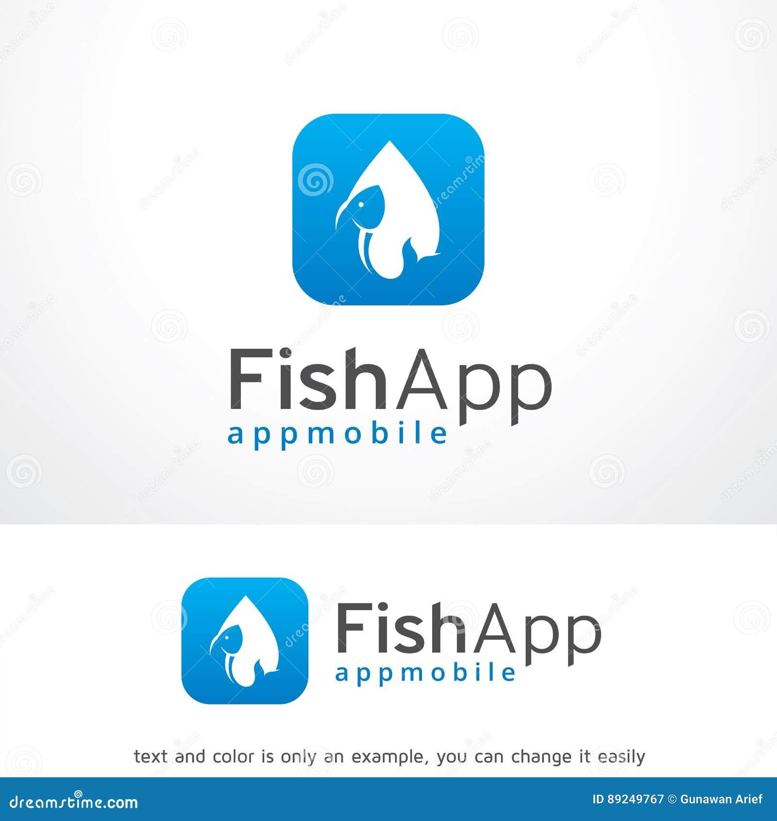 fish app logo template design vector emblem design concept