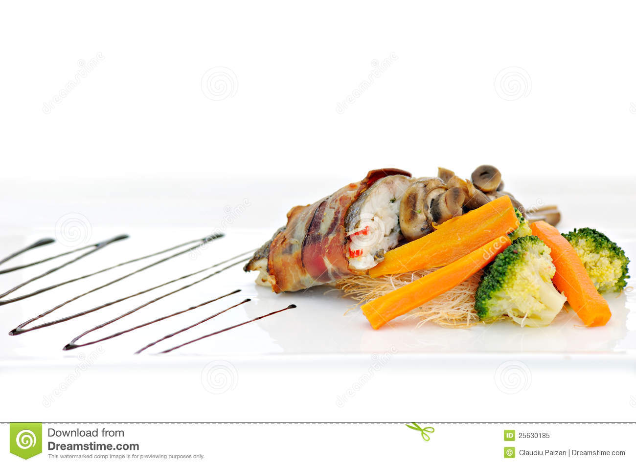 Fish bacon and vegetables royalty free stock photo image for Fishing with bacon