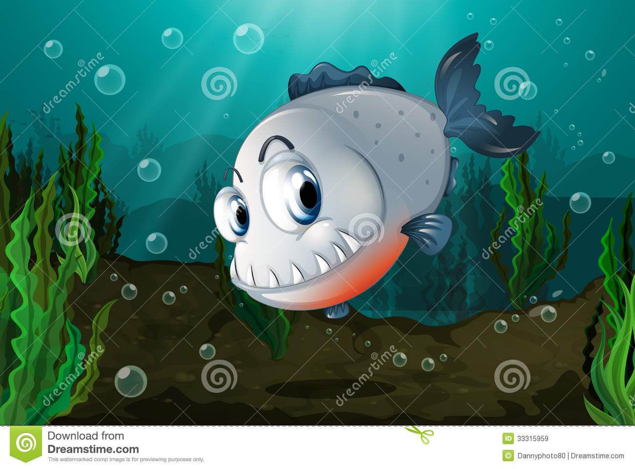 Royalty Free Stock Images Fish Big Fangs Under Sea Illustration Image3...