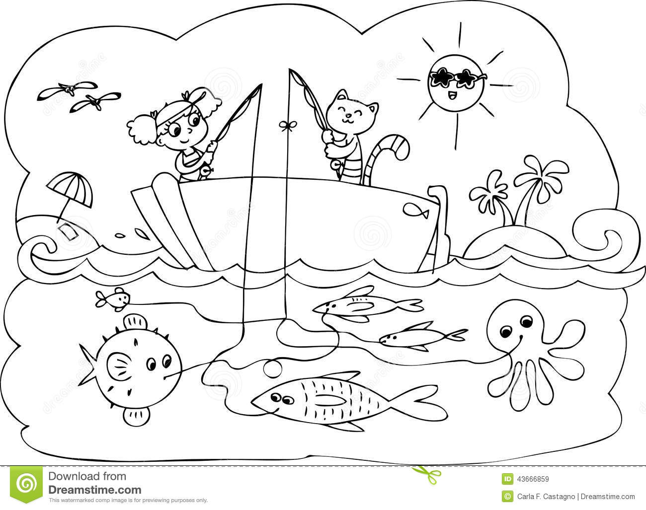 Fish boat game vector stock vector. Illustration of animal ...