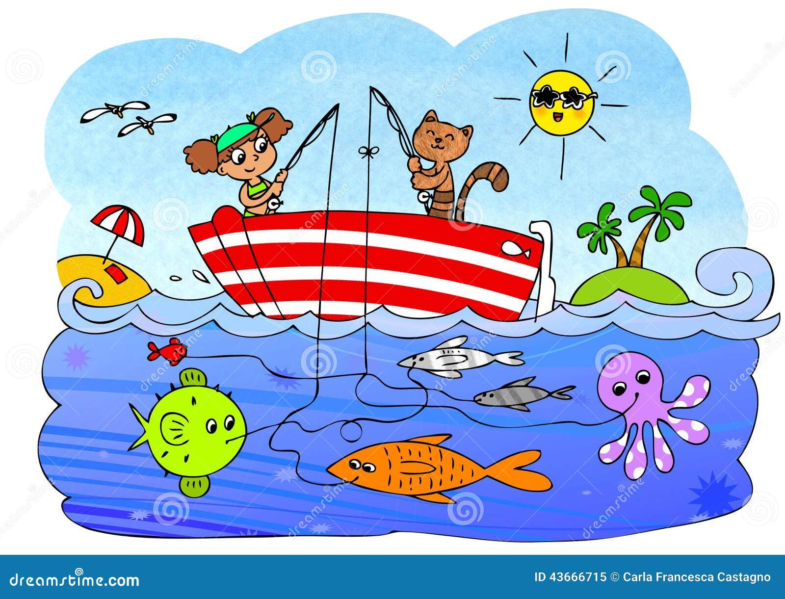 fish boat game for children stock illustration image