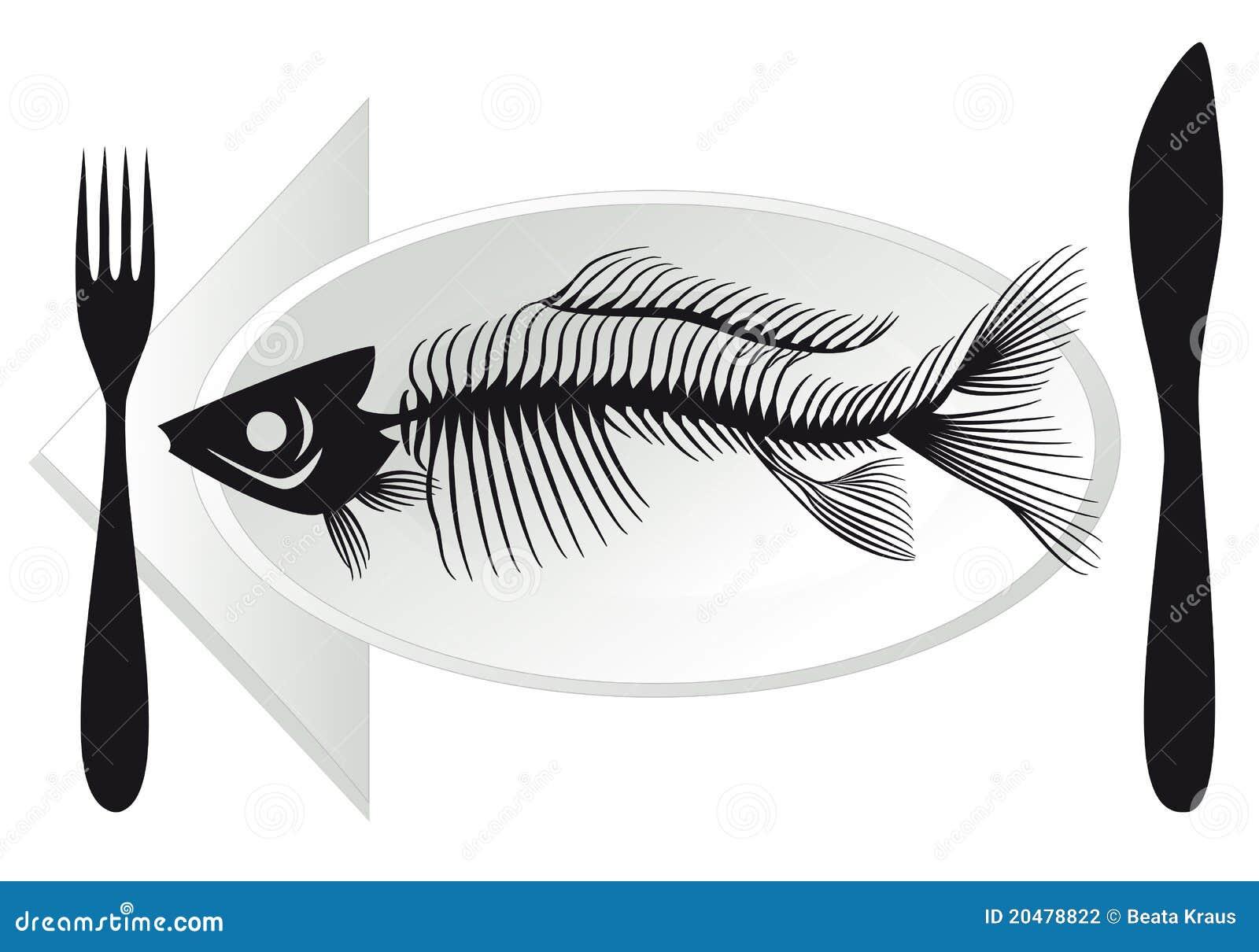 Fish bones on plate stock photography image 20478822 for Fish bones restaurant