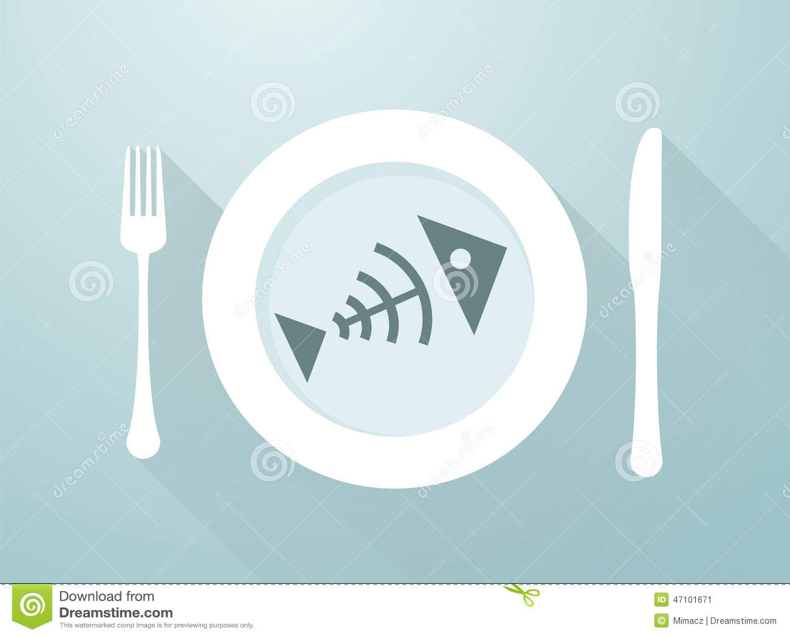 Fish bones on a plate stock photography cartoondealer for Fish bones restaurant