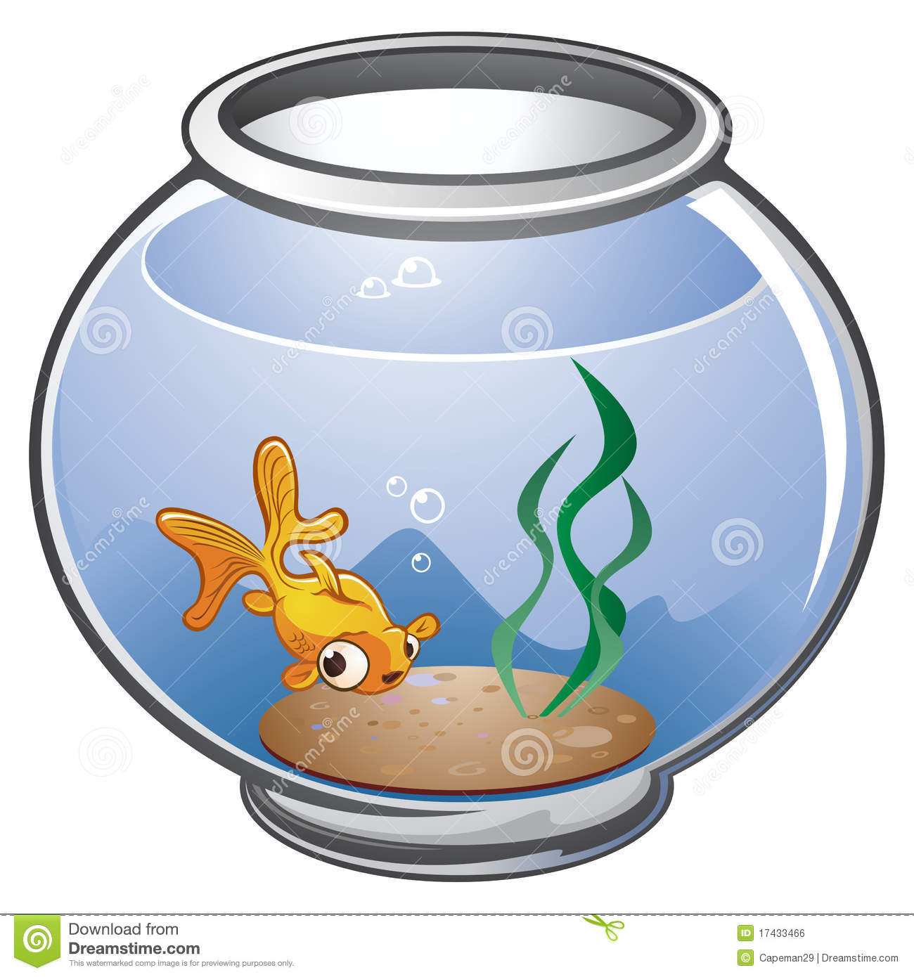 Fish bowl stock vector illustration of cartoon aquarium for How to make a fish bowl