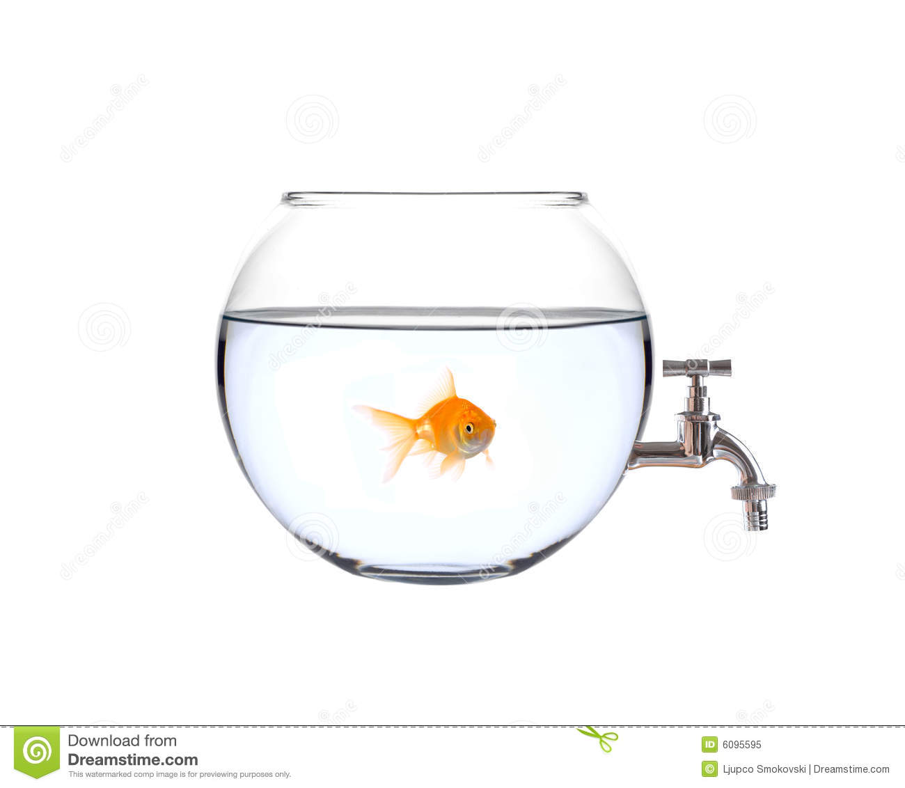 Fish in a bowl with a faucet on it royalty free stock for Fish in a bowl