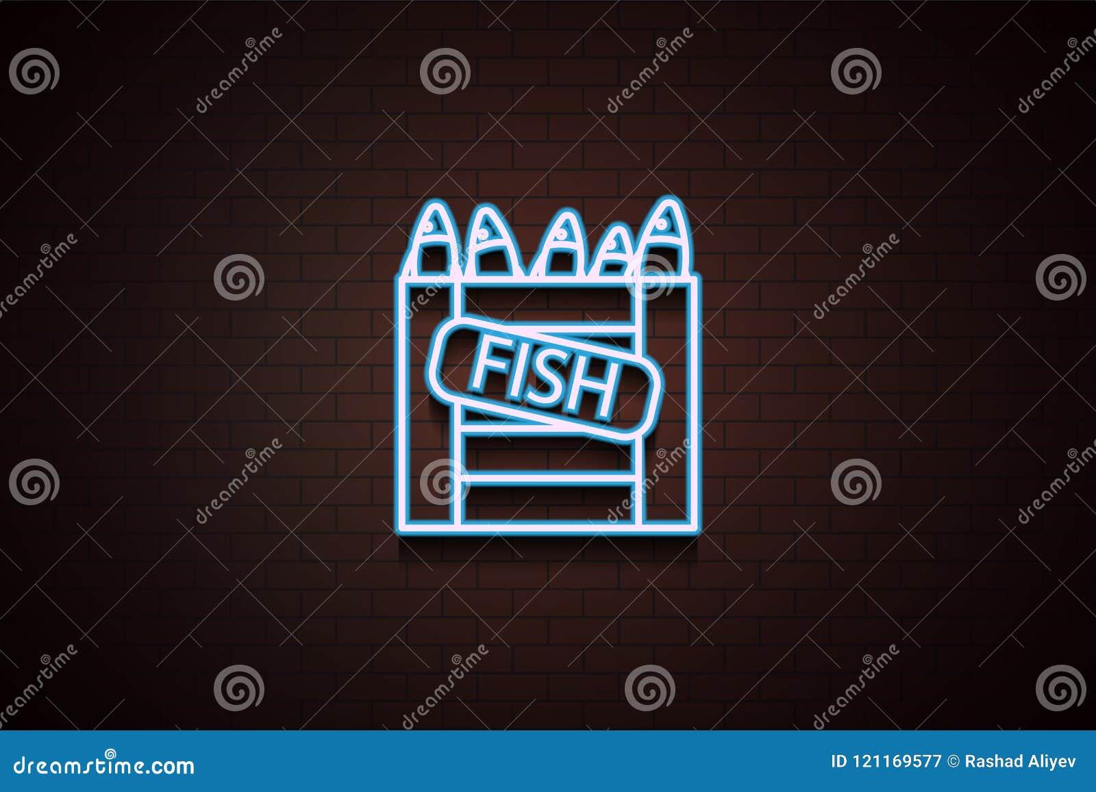 fish in a box icon in Neon