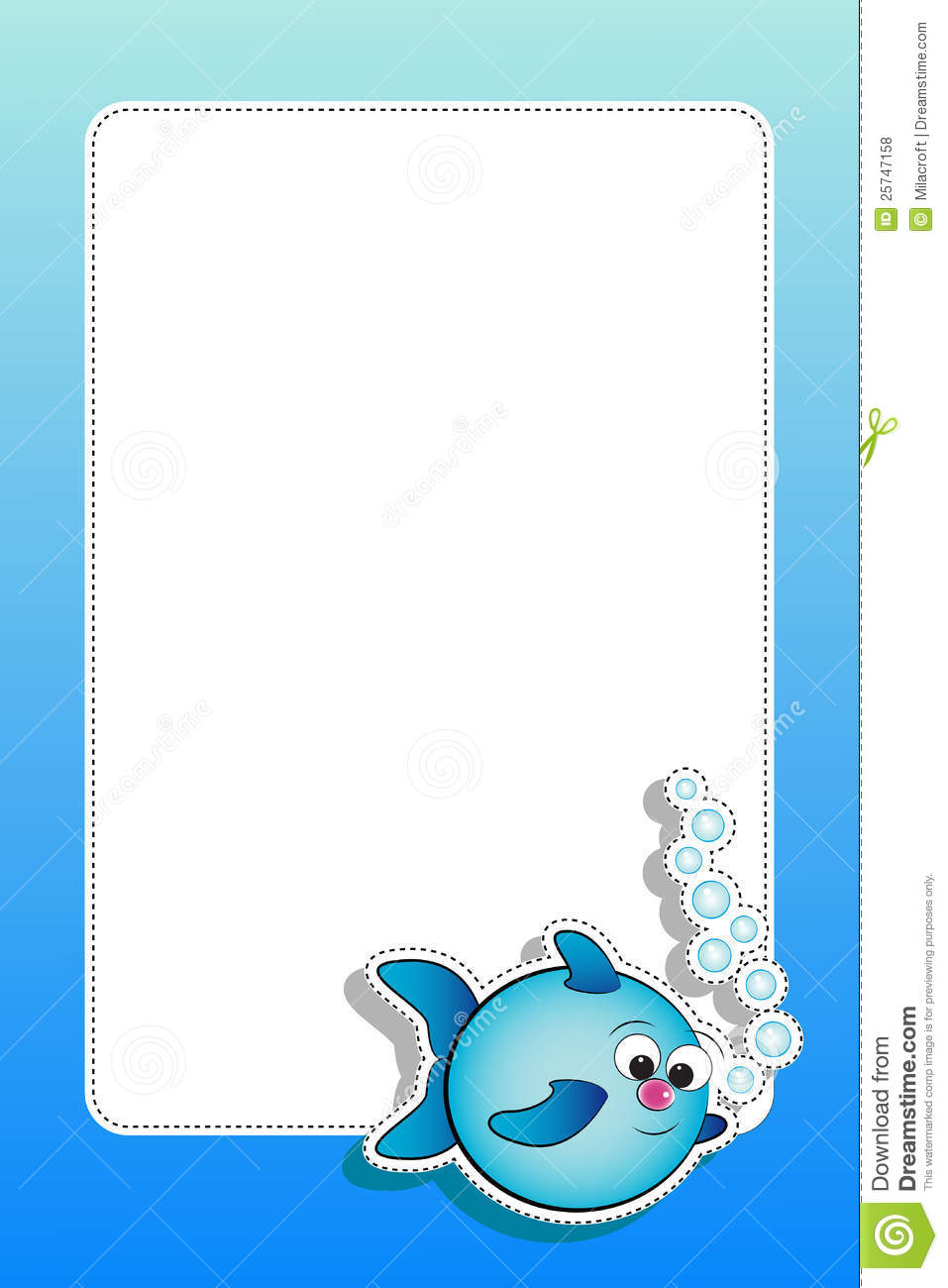 Fish with bubbles and blank frame stock vector image for Fish photo frame