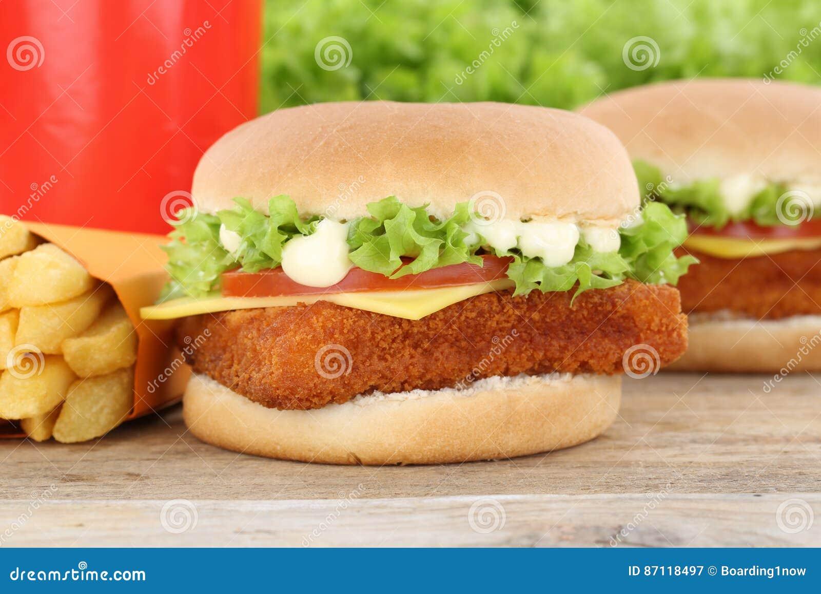 Fish burger fishburger hamburger and fries menu meal combo drink