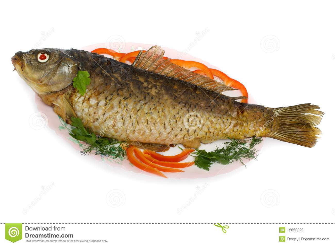 Fish, carp stuffed with minced fish and vegetables