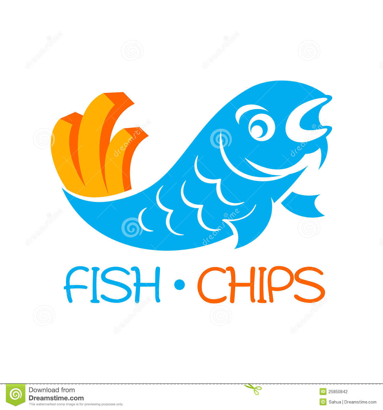 Fish Fry Logo:  Fish And Chips Stock Photography