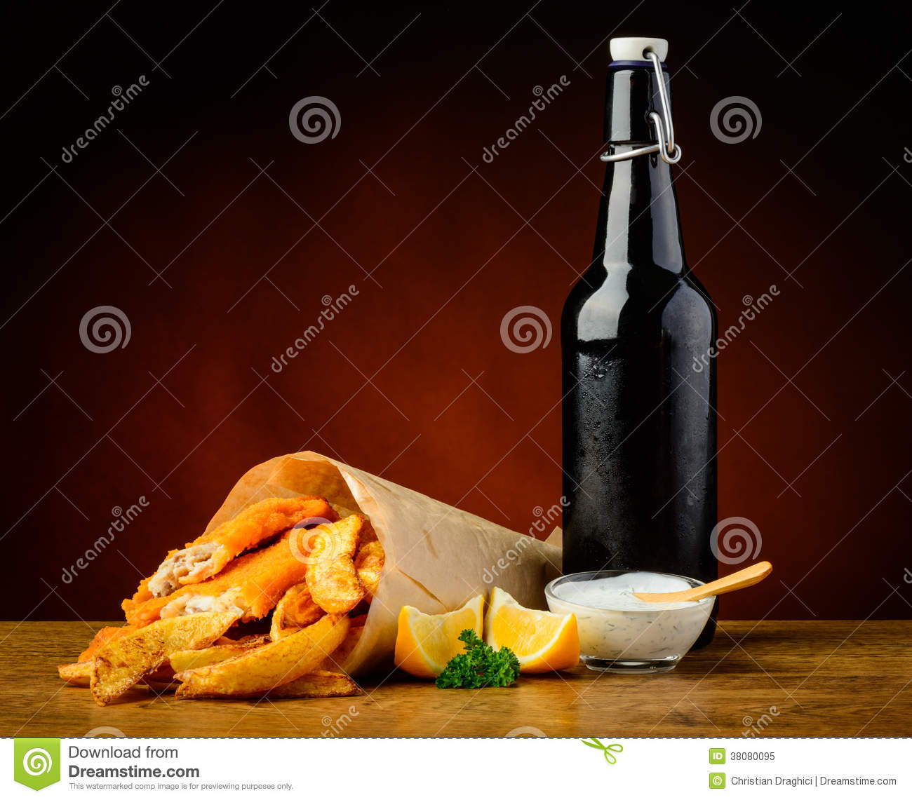Fish chips and beer bottle royalty free stock photo for Fish in a bottle menu