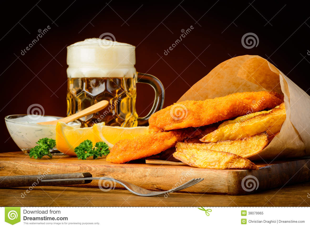 Fish and chips with beer stock image image of lemons for Fish and beer