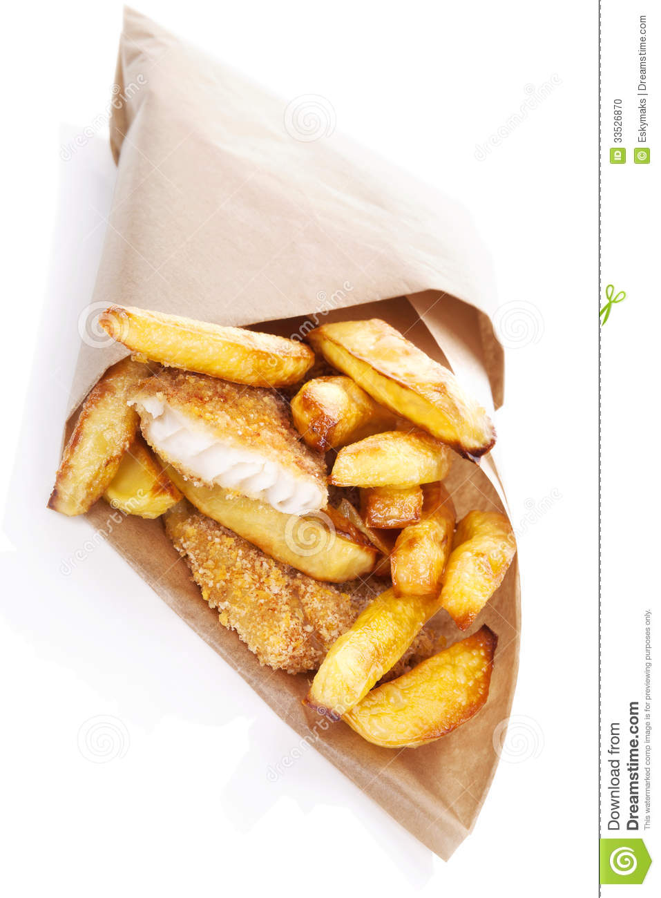Fish and chips stock photo image 33526870 for Fast food fish