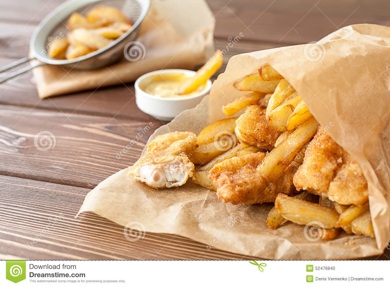 Fish and chips fast food stock photo image 52476840 for Fast food fish