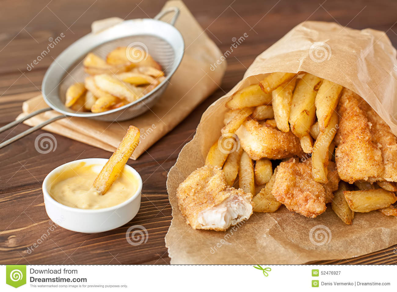 fish and chips fast food stock photo image 52476927