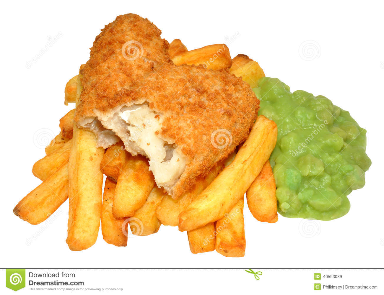 Fish And Chips With Mushy Peas Stock Image - Image: 40593089