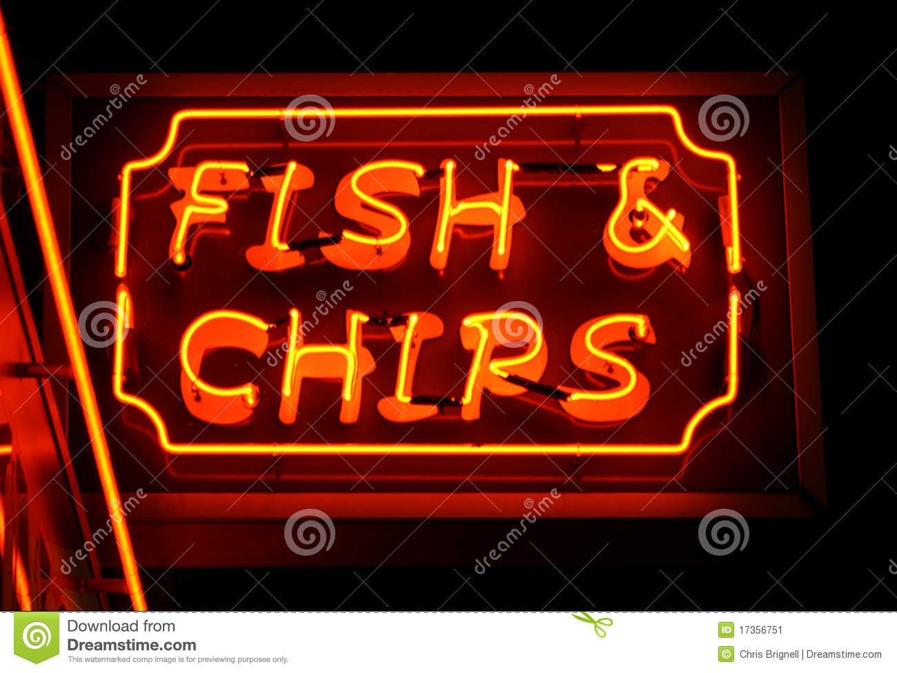 Fish and chips neon sign stock image image 17356751 for Fish neon sign