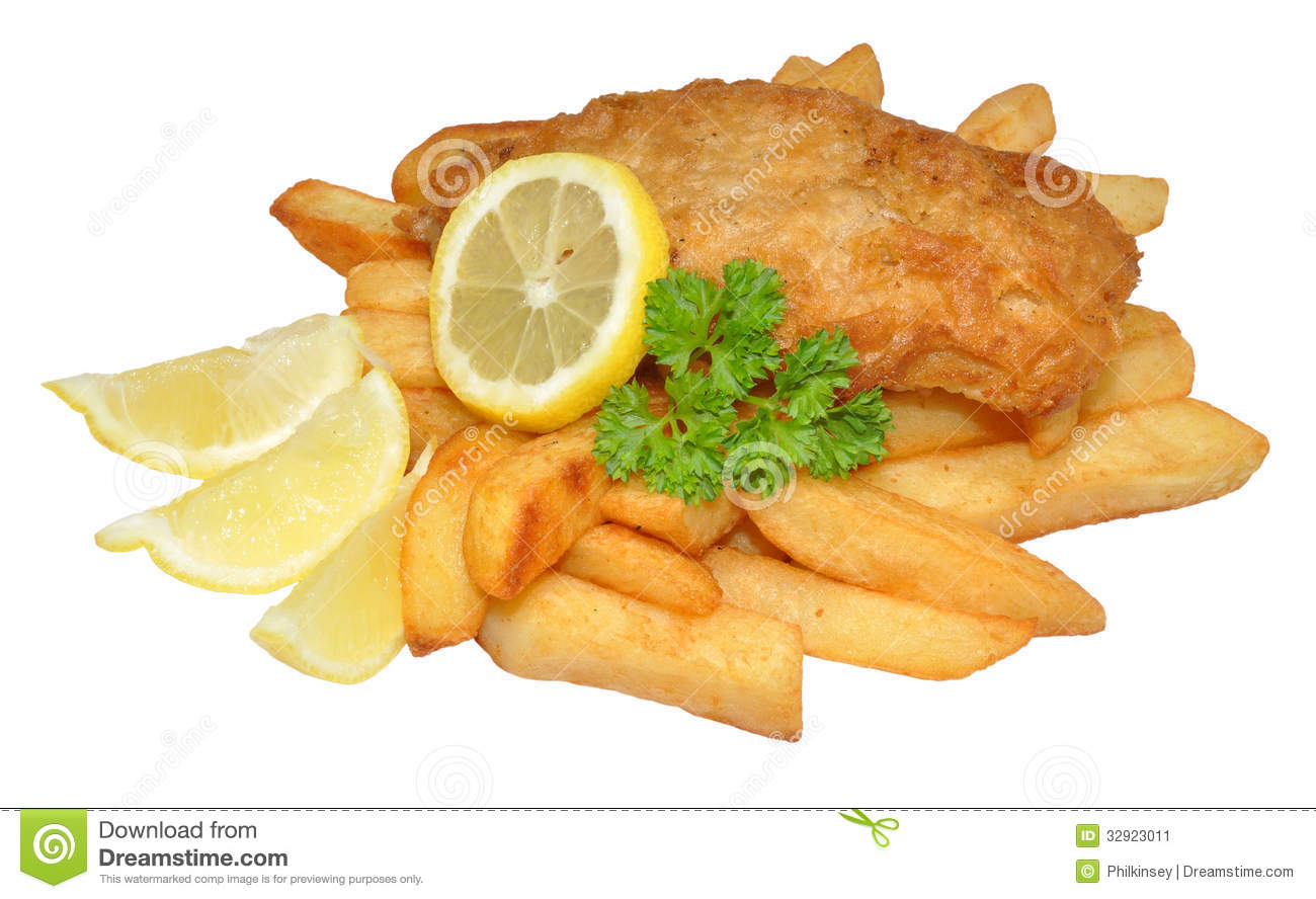 portion of fish and chips with lemon and parsley, isolated on a ...