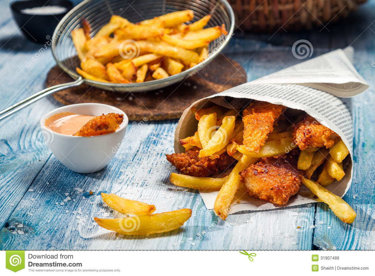 Fish & Chips Served In The Newspaper Royalty Free Stock Photos - Image: 31907488