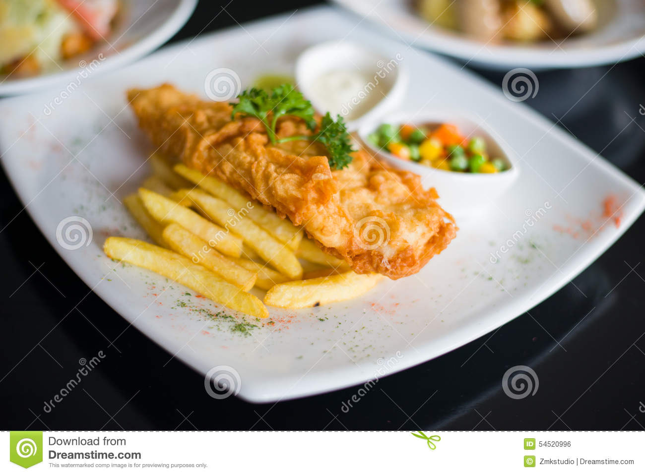 fish and chips served with tartar sauce stock photo image 54520996. Black Bedroom Furniture Sets. Home Design Ideas