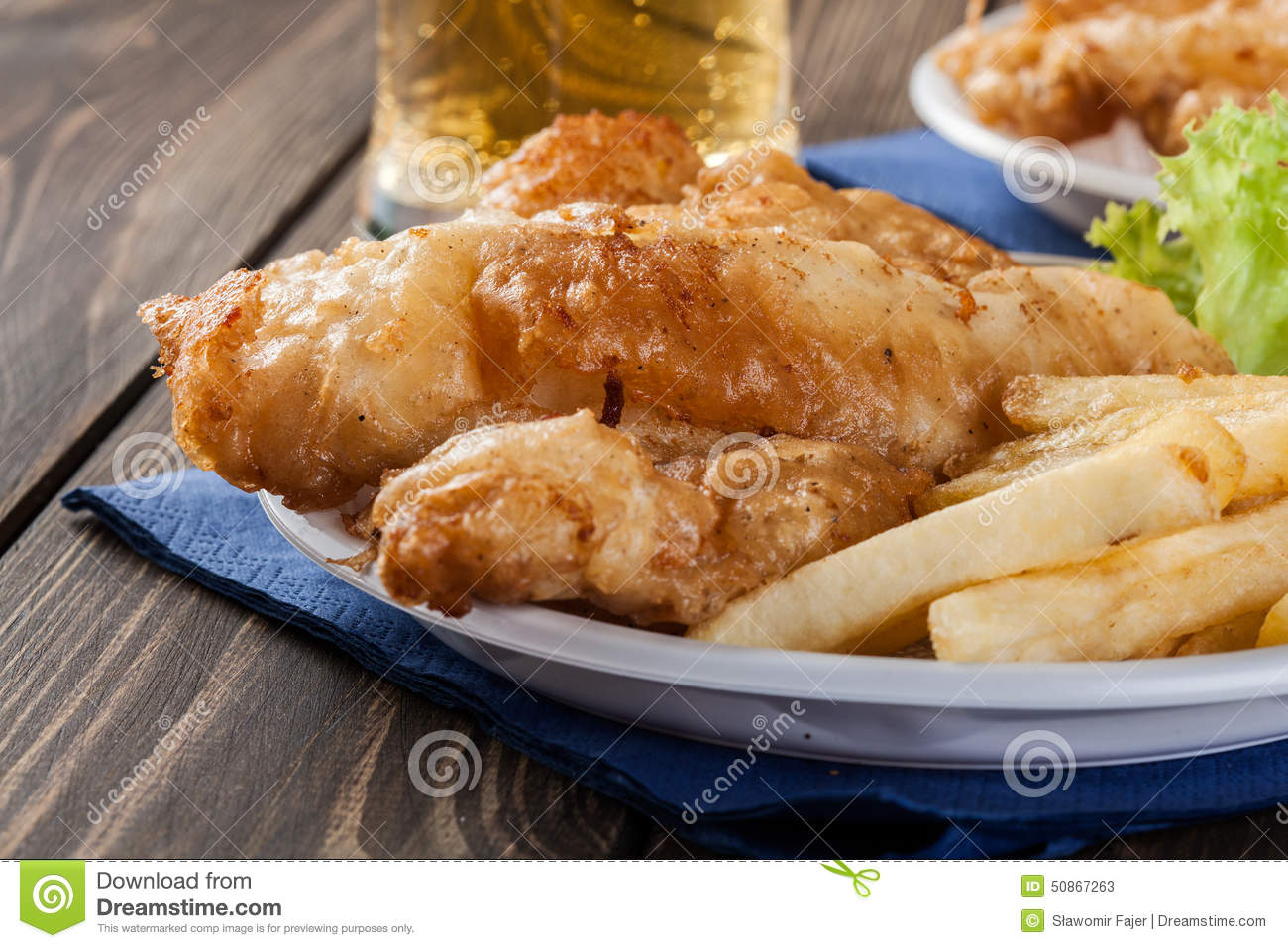 Fish And Chips With Tartar Sauce On A Plate Stock Photo - Image ...