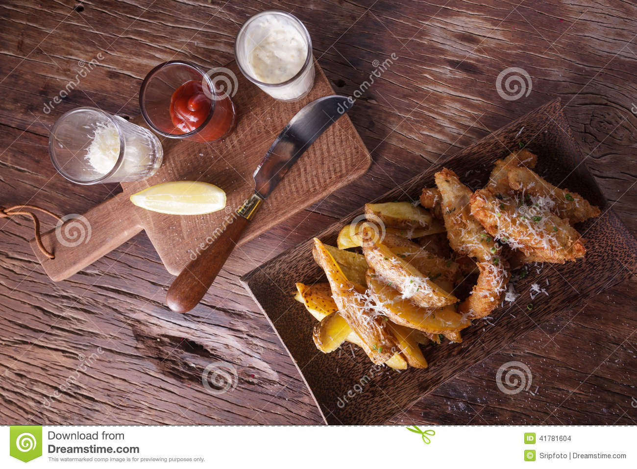 Fish And Chips With Tartar Sauce Stock Photo - Image: 41781604