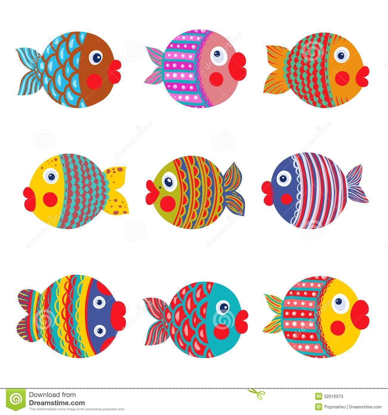 Fish Collection Colorful Graphic Cartoon Stock Vector