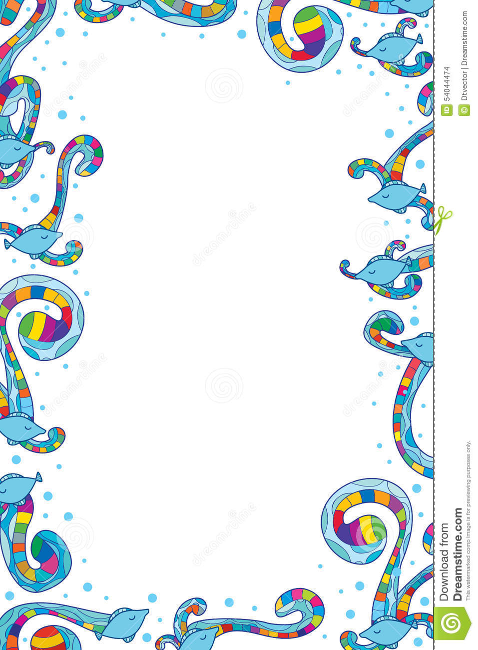Fish colorful swirl frame stock vector image 54044474 for Fish photo frame