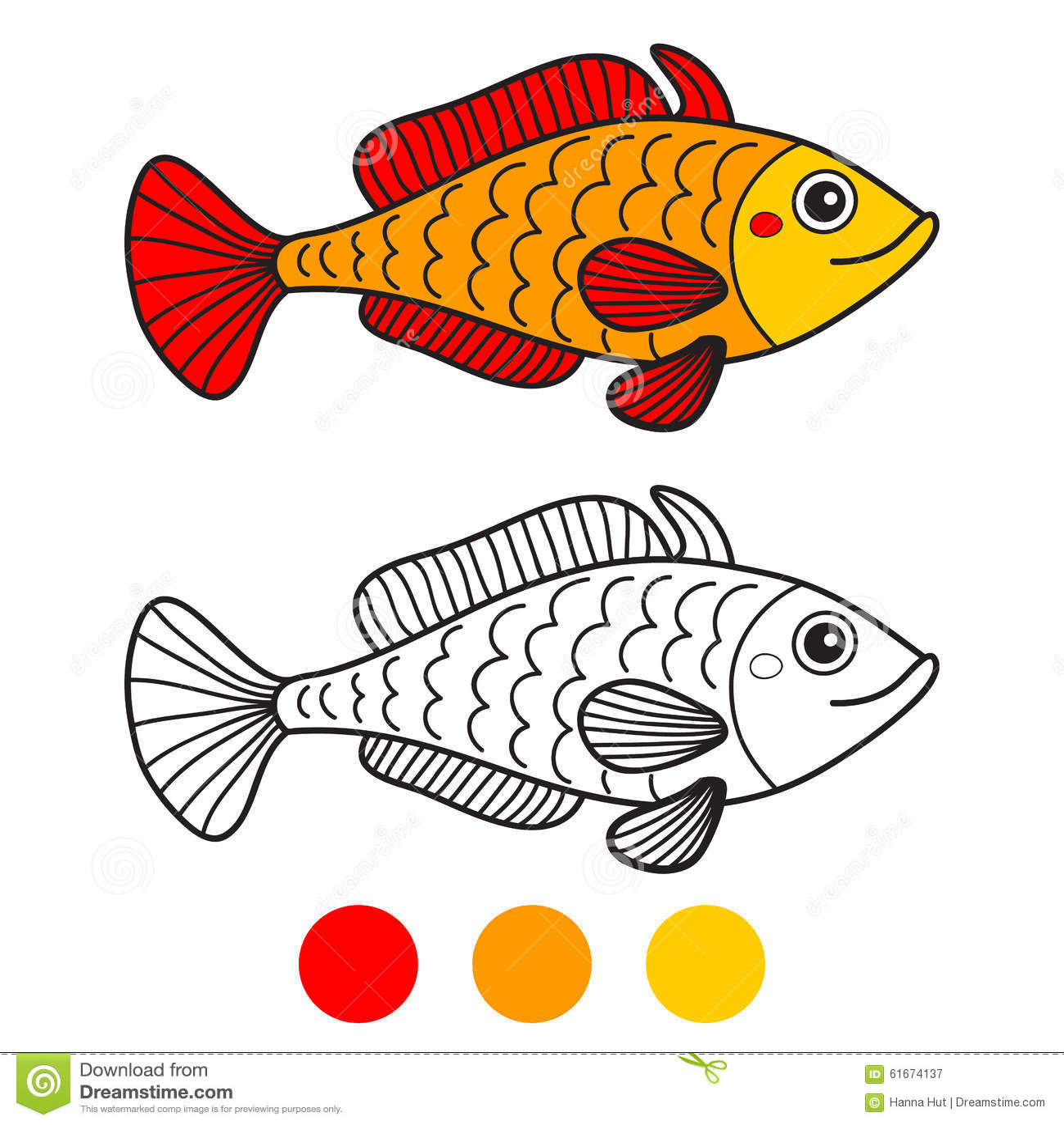 Fish. Coloring Book Page. Cartoon Vector Illustration ...