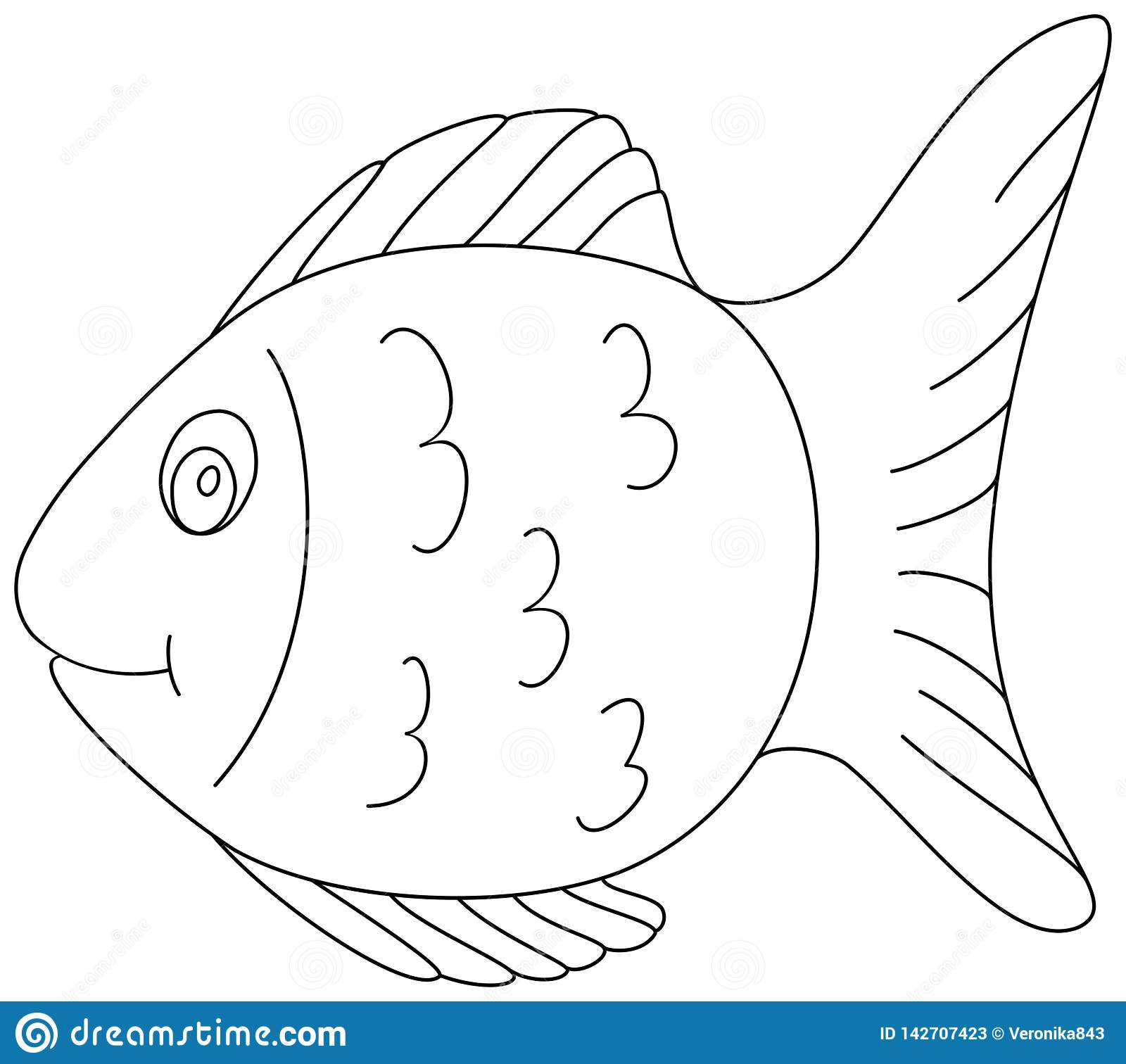 - Fish Coloring Book Page 2. Outline Clipart Stock Vector