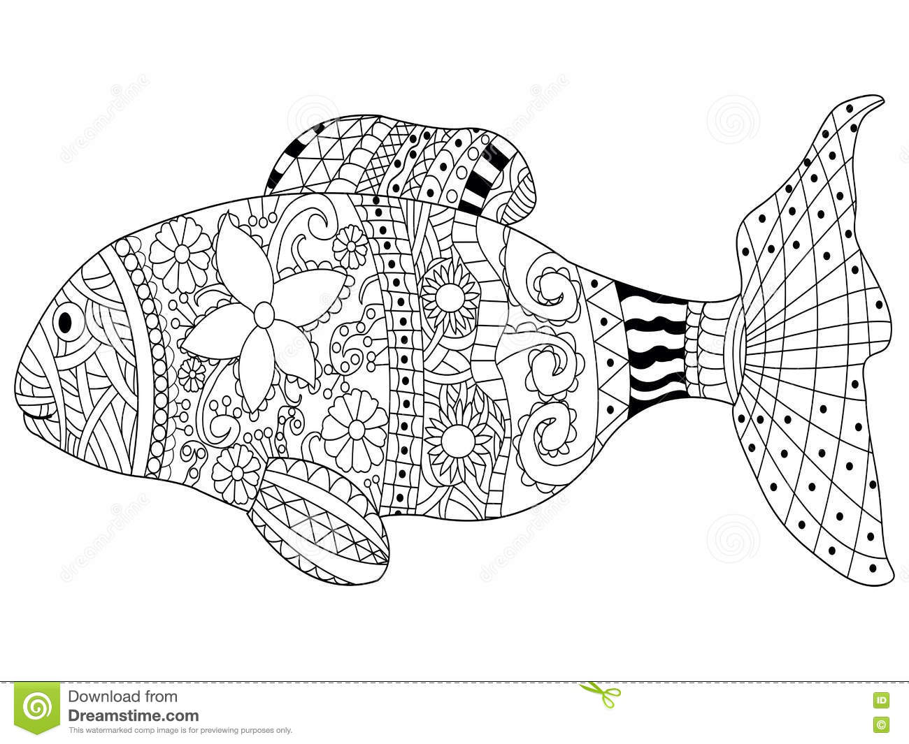 fish coloring book vector adults sea animal illustration anti stress adult zentangle style black white lines