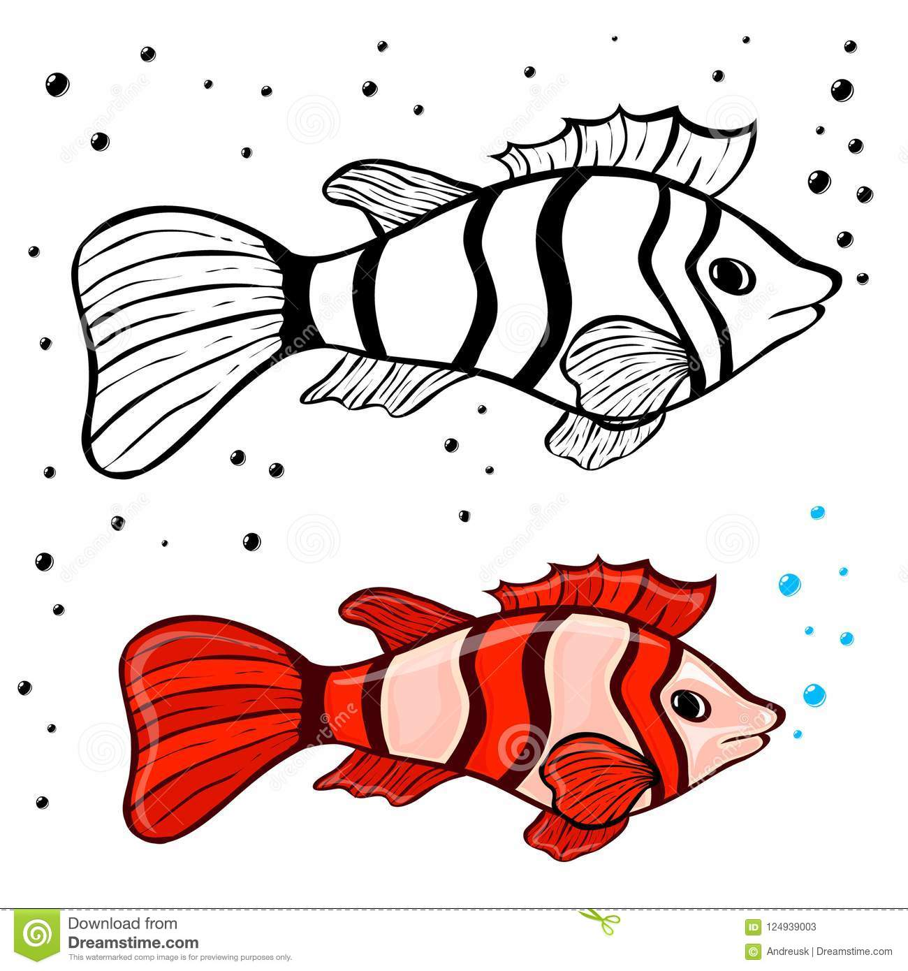 Fish coloring pages stock vector. Illustration of drawing ...