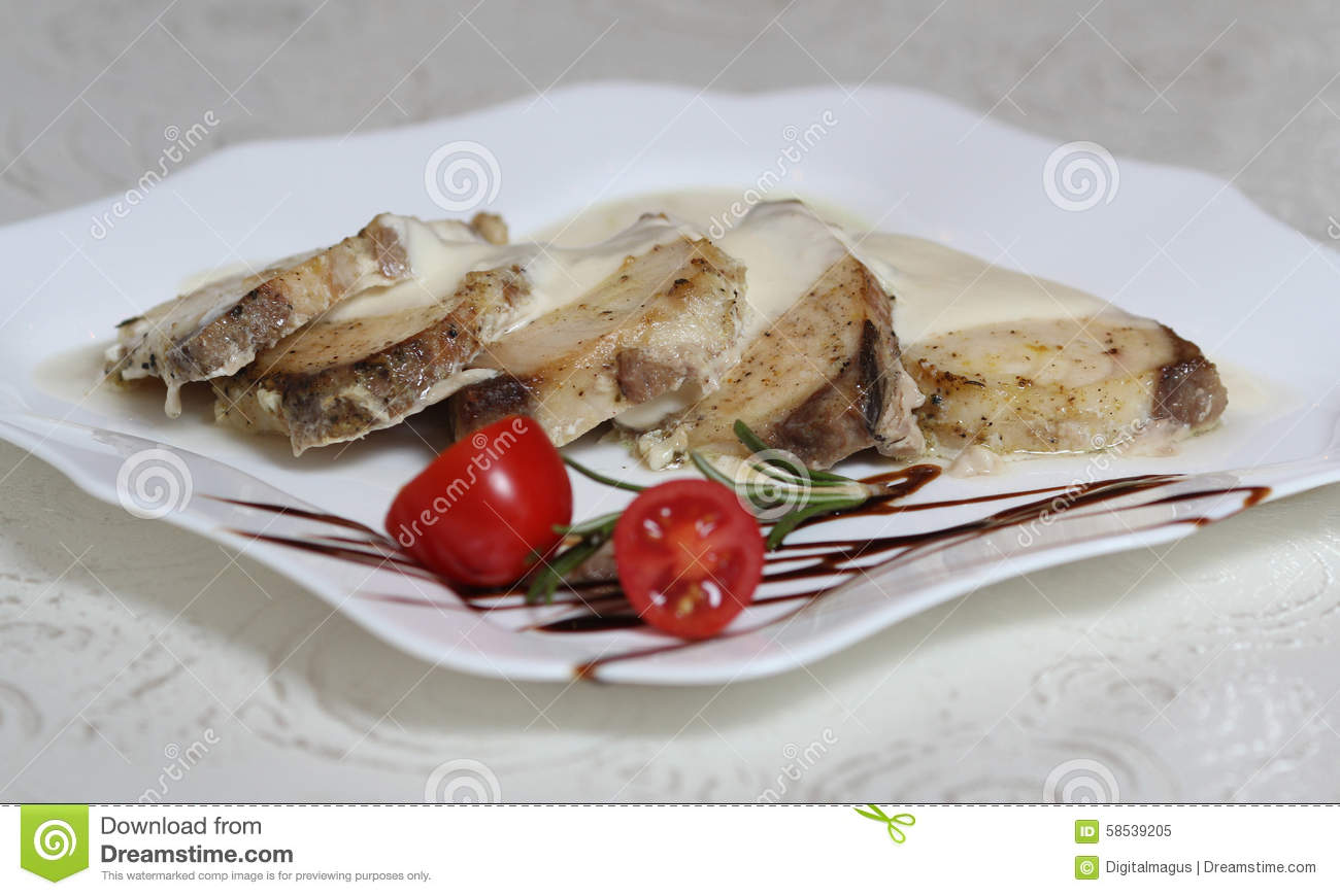 Fish with cream sauce stock photo image 58539205 for Cream sauce for fish