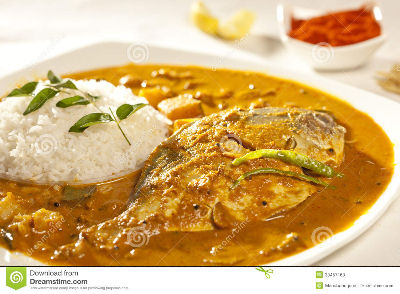 Fish Curry With Rice Stock Photo Image Of Indian Tasty 38457168
